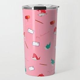 Pink Shark and Whale Shark Travel Mug