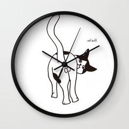 tuxedo cat butt Wall Clock