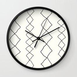 Moroccan Diamond Stripe in Black and White Wall Clock