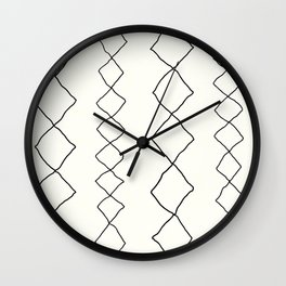 Moroccan Diamond Stripe in Black and White Wall Clock
