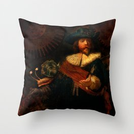 Steampunk Rembrandt - The Night Watch Throw Pillow