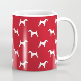 Airedale Terrier red and white minimal dog pattern dog silhouette pattern Coffee Mug