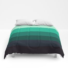 Teal & Turquoise Colorful Ombre Stripes Comforters