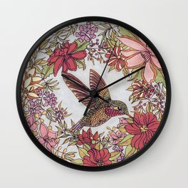 Hummingbird In Flowery Garden Wreath Wall Clock
