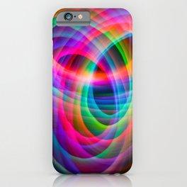 Spirograph rainbow light painting iPhone Case