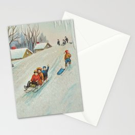 Happy vintage winter sledders Stationery Cards