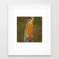 gustav klimt Framed Art Prints featuring Gustav Klimt - Hope, II by TilenHrovatic