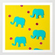 Playful Elephants Art Print