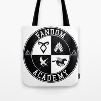 fandom Tote Bags featuring Fandom Academy by Thg Fashion