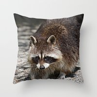 racoon Throw Pillows featuring Racoon by MehrFarbeimLeben