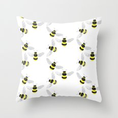Fuzzy Bumblebees Throw Pillow
