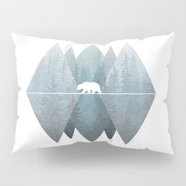 Misty Forest Mountain Bear Pillow Sham