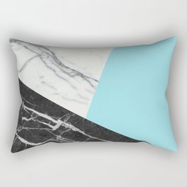 Black and white marble with pantone island paradise Rectangular Pillow