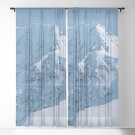 Winter Mountains in Glacier Blue - Alaska Sheer Curtain