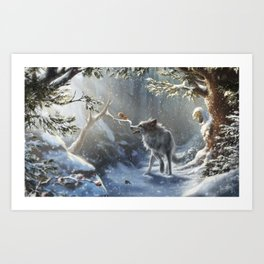 Friends: Wolf & Squirrel in Winter Art Print