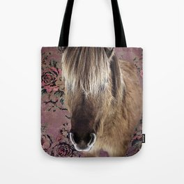 Icelandic pony with rosy posies Tote Bag