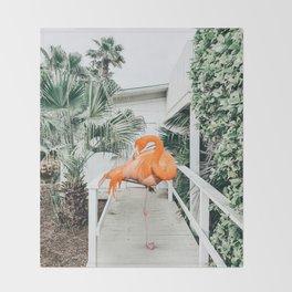 Flamingo Beach House #photography #digitalart Throw Blanket