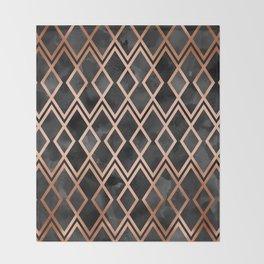 Copper & Black Geo Diamonds Throw Blanket