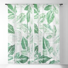 Green foliage Sheer Curtain