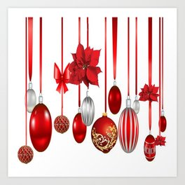 RED-WHITE CHRISTMAS ORNAMENTS FROM SOCIETY6 Art Print
