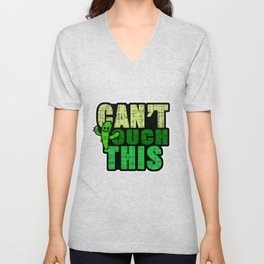 Cactus Cacti Prickle Spiny Leafless Plant Planting Puns Can't Touch This Funny Gift Unisex V-Neck