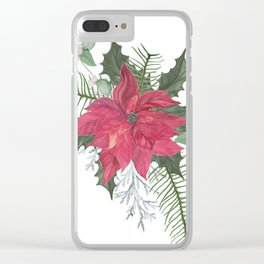Red poinsettia flower arrangement Clear iPhone Case