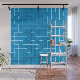 White Tetris Pattern on Blue Wall Mural