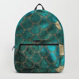 Multicolor Aqua And Gold Mermaid Scales -  Beautiful Abstract Pattern Backpack