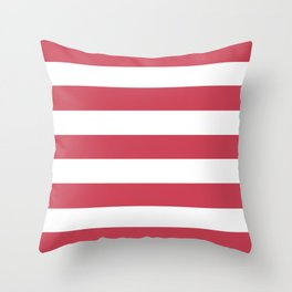 Brick red - solid color - white stripes pattern Throw Pillow