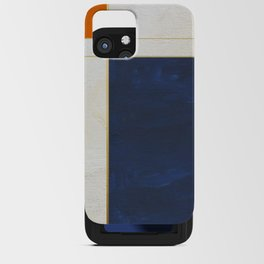Orange, Blue And White With Golden Lines Abstract Painting iPhone Card Case