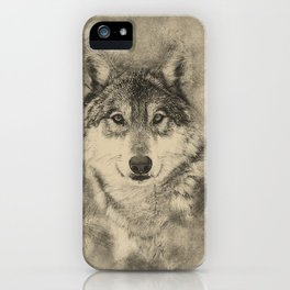 Timber Wolf Pencil Illustration iPhone Case