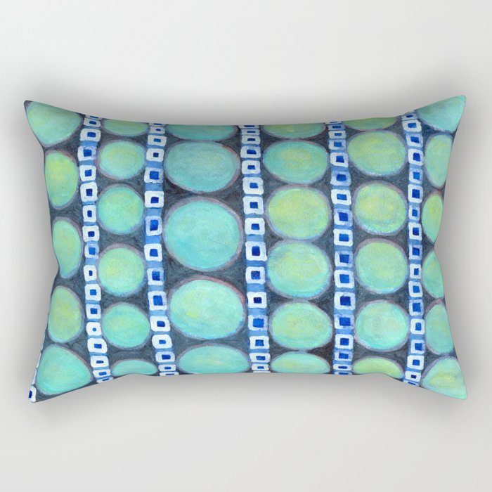 Rows of Blue Iridescent Circles Pattern Rectangular Pillow
