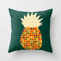 pineapple Throw Pillows featuring Pineapple by Picomodi