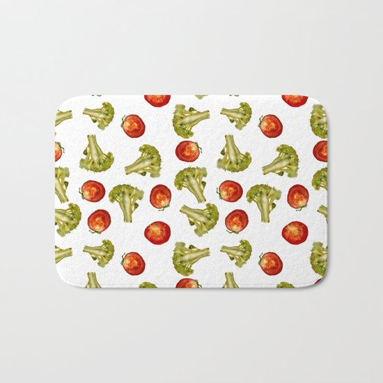Broccoli and tomato Bath Mat