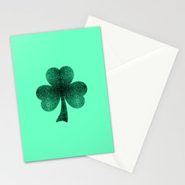 Emerald green shamrock clover sparkles Stationery Cards