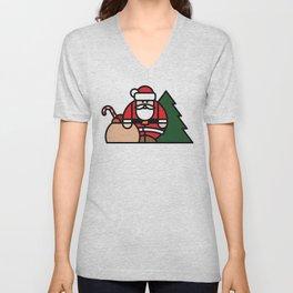 Santa Claus, bag of toys and Christmas tree Unisex V-Neck