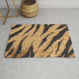 Beige and brown realistic tiger fur texture Rug