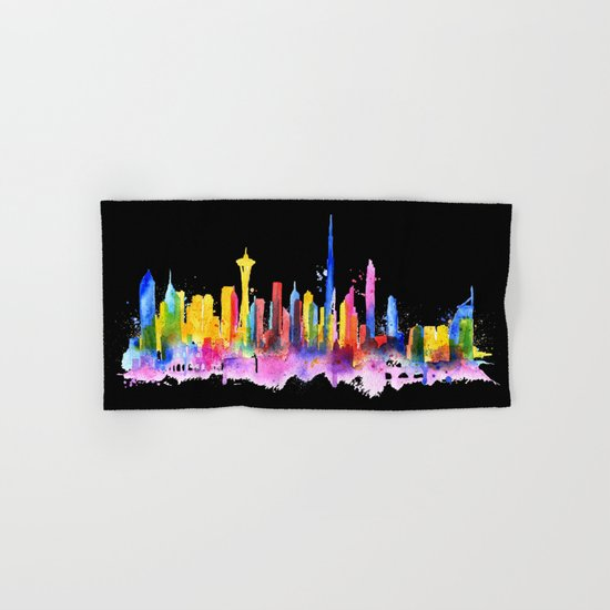 Color Dubai Skyline on Black Hand & Bath Towel