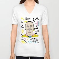 brasil V-neck T-shirts featuring FIFA - BRASIL  by 13pulsions