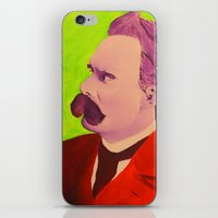 nietzsche iPhone & iPod Skins featuring Colorful Nietzsche by TheMessianicManic