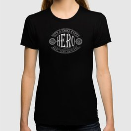 100% Hero (white 3D effect badge on black) T-shirt