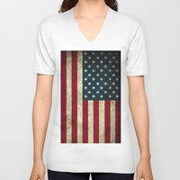 american flag V-neck T-shirts featuring American Flag by Abbie :)