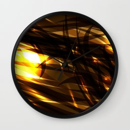 Saturated copper and smooth sparkling lines of black tapes on the theme of space and abstraction. Wall Clock