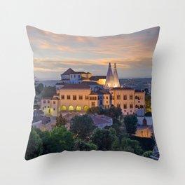 Palacio Nacional de Sintra at dusk, Portugal Throw Pillow