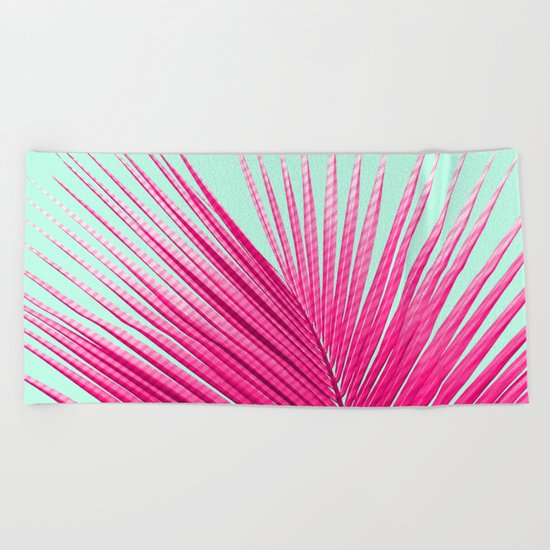 Pink Candy Cane Palm Beach Towel