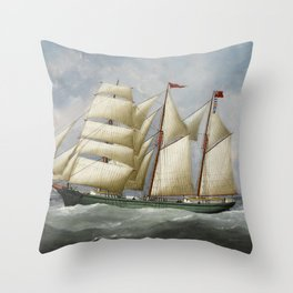 Vintage Ship Oil Painting Reproduction Throw Pillow