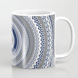 Navy Blue Grey Bohemian Mandala Coffee Mug