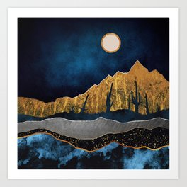 Midnight Desert Moon Art Print