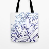 crystals Tote Bags featuring Crystals by fossilized