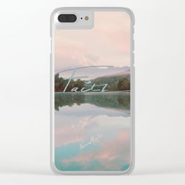 Faith - Smoky Mountains Lake at Dawn Nature Photography Quote Clear iPhone Case